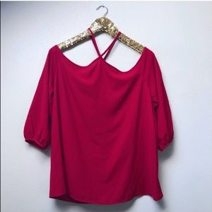 """Red """"Stephania"""" Cold Shoulder Blouse Stitch Fix"""